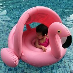 0-3 Years Old Baby Inflatable Flamingo Pool Float with Sunsh