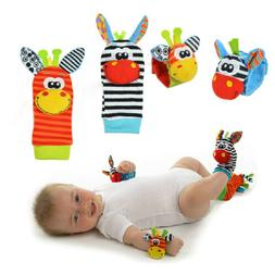 2PCS Soft Rattle Set Baby Sensory Toys Foot-finder Socks Wri