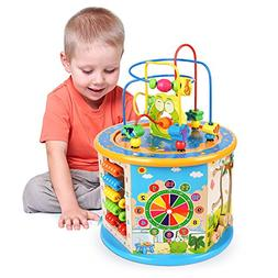 Elover 8 in 1 Wooden Activity Cube Bead Maze Multi-purpose E