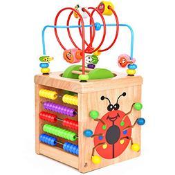 Victostar 6 in 1 Wooden Activity Cube Bead Maze Multipurpose