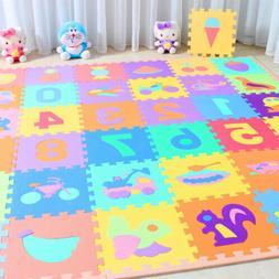 10 x Baby Soft EVA Foam Play Mat Alphabet Numbers Puzzle DIY