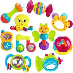 10pcs Baby Teether Shaker Grab and Spin Rattle  Musical Toy