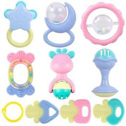 10pcs/Set Baby Rattles Teether Toys Ball Shaker Grab Spin Bi
