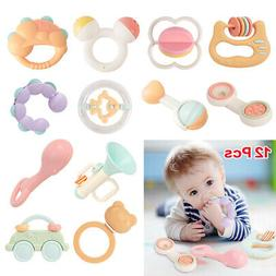 12pc Safety Baby Rattles Teether Toys Sound Bed Car Hanging