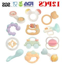 12PCS Baby Rattles Teether Bed Car Hanging Shaking Bell Deve