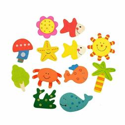 12Pcs Set Baby Kids Wooden Cartoon Animal Fridge Magnet Chil
