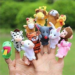 12x Farm Zoo Animal Finger Puppets Boys Girls Baby Education