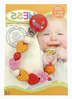 Hess 13671 Wooden Mia Pacifier Holder Baby Toy, 21 cm, Multi