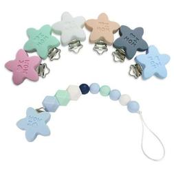 1X Food grade Silicone Star Baby Pacifier Clip Baby Teething