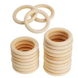 20x Natural Unfinished Wooden Teether Wood Baby Teething Rin