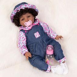 22'' Reborn Baby Doll Silicone Vinyl African American Newbor