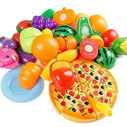 24Pcs Plastic Fruit Vegetable Kitchen Cutting Toy, YIFAN Ear