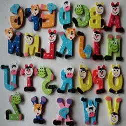26pcs/set Wooden Cartoon Alphabet A-Z Magnets Child Educatio