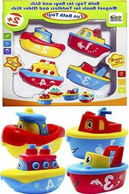 3 Bees & Me Bath Toys for Boys and Girls - Magnet Boat Set T