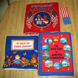 3 completed fabric panel baby books yankee