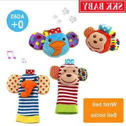 4pcs  Hand Wrist Bell and Foot Sock Rattles Soft Toy for Inf