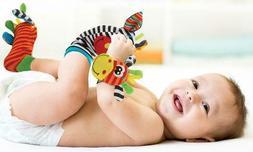4pcs set Cute Animal Infant Baby Kids Hand Wrist Bell Foot S