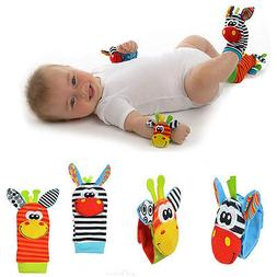 4pcs set Cute Animal Infant Baby Kids Hand Wrist Bell Foot S
