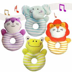 Aminord 4Pcs Soft Rattle Baby Toys, Developmental Toy For 3,
