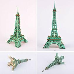 4Pcs Wooden Kids DIY 3D Eiffel Iron Tower Assembly Model Puz