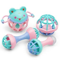 4x Baby Rattles Hand Toy Ball Bell Music Learning Education