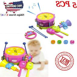 5PCS Kid Baby Roll Drum Musical Instruments Band Kit Childre