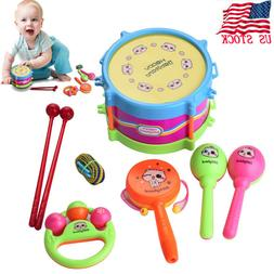 5Pcs /Set Kids Baby Amusing Drum Musical Instruments Band Ki