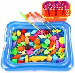 67pcs Bath Toys Fishing Magnetic Toys Floating Fishing Infla