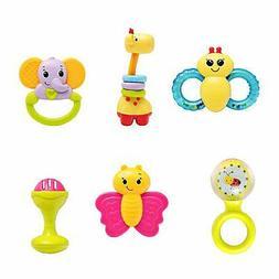 infunbebe 6pcs Baby Rattles Teether Toy Grab Shaker Spin Rat