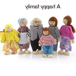 6Pcs Wooden Furniture Dolls House Family Miniature Set Doll