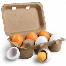 6x Wooden Eggs Yolk Pretend Play Kitchen Food Cooking Set Ki