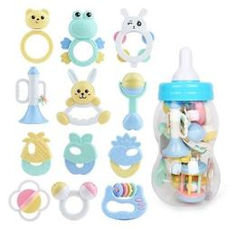 8/13Pcs Baby Teether Rattle Play Toys Large Milk Bottle Newb