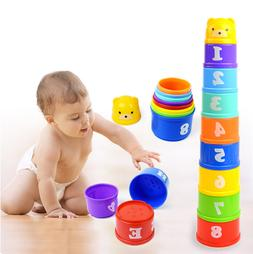 9PCS Early Education Baby Toys  Figures Letters Folding Stac