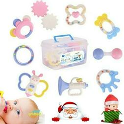 9Pcs Newborn Toddler Baby Shaking Bell Rattles Teether Toys