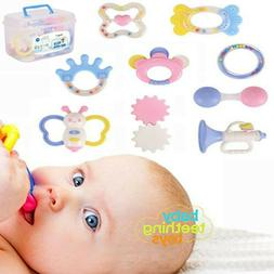 9Pcs Newborn Toddler Baby Shaking Bell Rattles Teether Toys