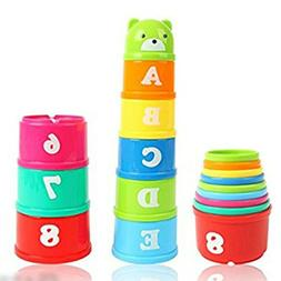9pcs Stacking Cups Bathtub Toys Nesting Cups Baby Building S