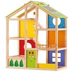 Award Winning Hape All Season House Wooden Doll House Unfurn