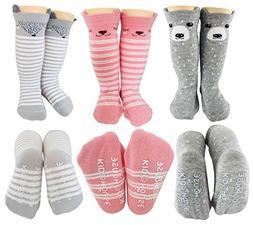 Baby Girl Knee High Long Socks Non Slip Toddler Socks 8-24 M