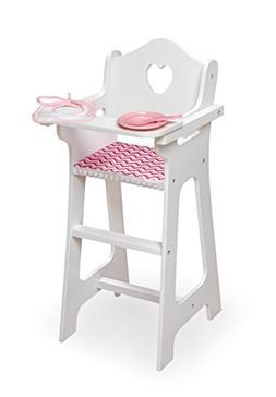 Badger Basket Doll High Chair with Plate, Bib & Spoon , Chev