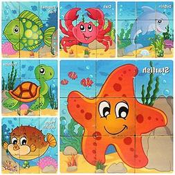 Bearstar Wooden 9 pcs Cube Puzzles Kids Best Blocks for 2 to