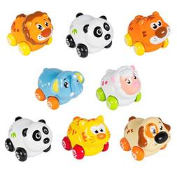 Cartoon Animals Friction Push and Go Toy Cars Play Set for B