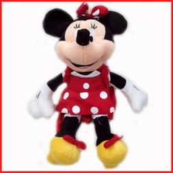 "Disney Plush Classic Minnie Mouse Red Polka Dot Dress 15"" To"