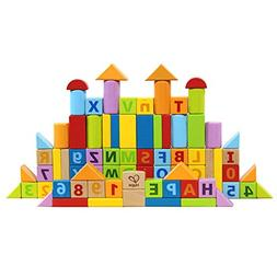 Hape Limited Edition Solid Beech Wood Stacking Blocks with C