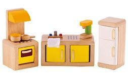 Hape Wooden Doll House Furniture Kitchen Set with Accessorie
