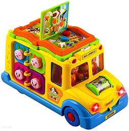 WolVol Learning Toy Self Driving School Bus Toy with Lights