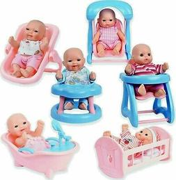 WolVol Set of 6 Mini Dolls for Girls with Cradle, High Chair
