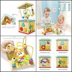 Activity Cube Toys Baby Educational Wooden Bead Maze Shape S