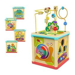 TOP BRIGHT Activity Cube Wooden Toys for 1 Year Old Girl and