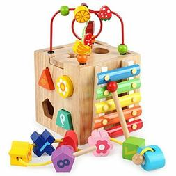 Baby Activity Cube Centers Toys Bead Maze Shape Sorter Xylop
