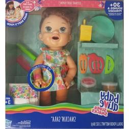 "Baby Alive Super Snacks Snackin Sara 15"" Doll Talks, Eats, D"